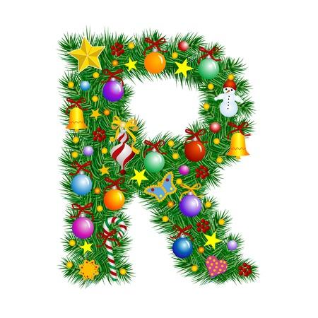 Letra R - árbol de Navidad decoración - Alfabeto  Ilustración de vector