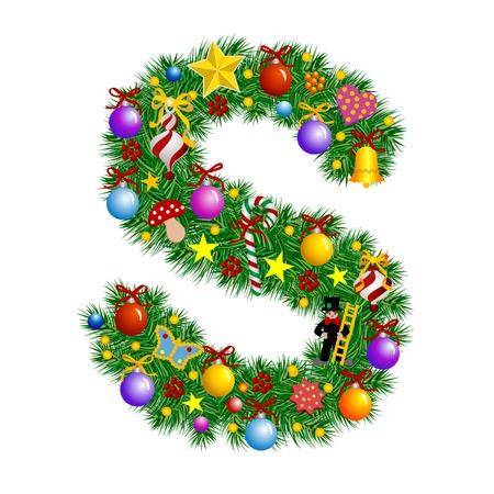 Letra S - árbol de Navidad decoración - Alfabeto