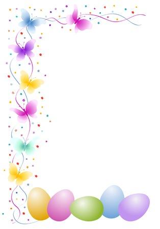 Pasen eieren met vlinder en bloemen