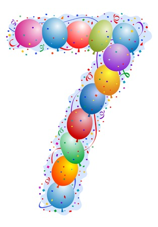 Balloons and confetti - Number 7 seven