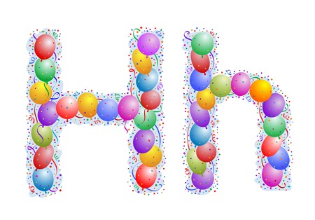Balloons and confetti � Letter H Stock Vector - 3185591