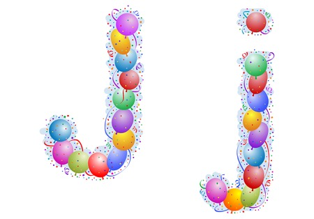Balloons and confetti – Letter J