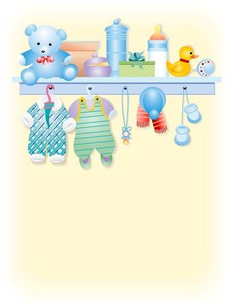 Ropa y accesorios para bebé niño - muchacho de prendas de vestir para bebés  Ilustración de vector