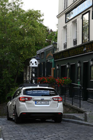 Paris, Montmartre, June 20 3020 : Apple Maps car mapping roads