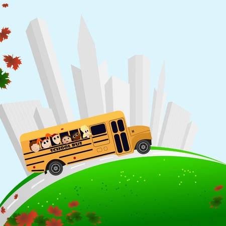 Vector illustration of a school bus, buildings, and maple leaves Иллюстрация