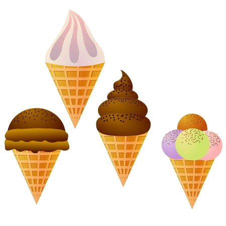 Set of images of ice cream