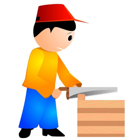 illustration of a carpenter with a chainsaw  Vector