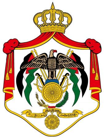jordanian: illustratie van het nationale wapen van Jordanië Stock Illustratie