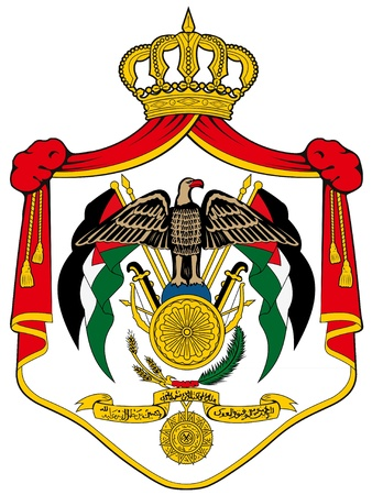 illustration of the national coat of arms of Jordan  Vector