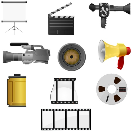 Collection of illustrations for cinema and photos Vector