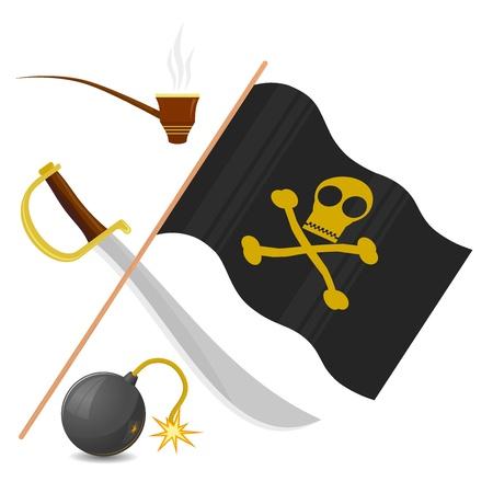 drapeau pirate: Collection d'attributs pirate Illustration
