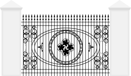 iron gate: Vector illustration of a fence with iron railing Illustration