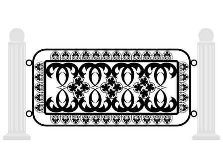 grating: Vector illustration of a fence with iron grating