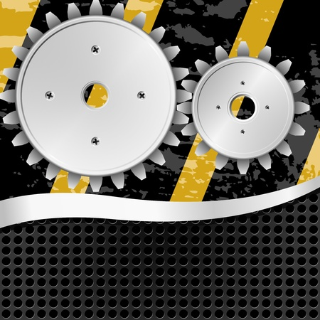 Vector illustration  of abstract metal background with gears Stock Vector - 11831339