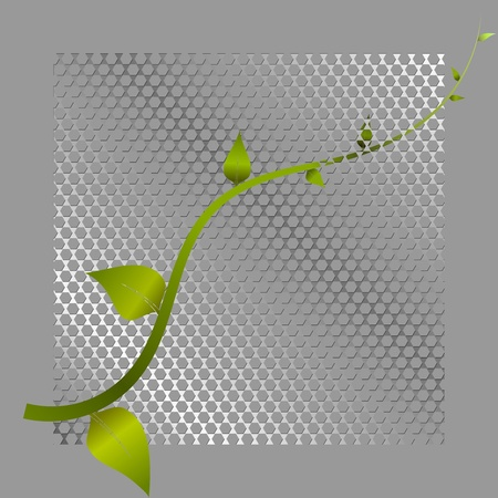 Vector illustration of green shoots and metal mesh Vector