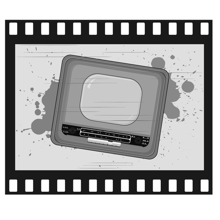 Vector illustration of old frame with old TV Vector