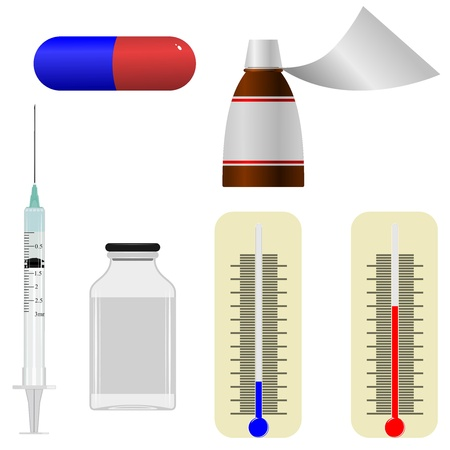 Set  of illustrations of medical  items Vector