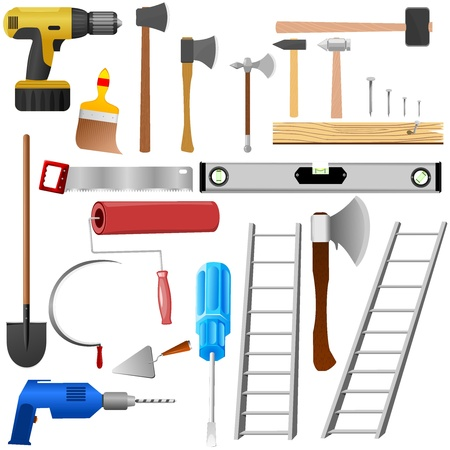 ollection: �ollection of items for repair Illustration