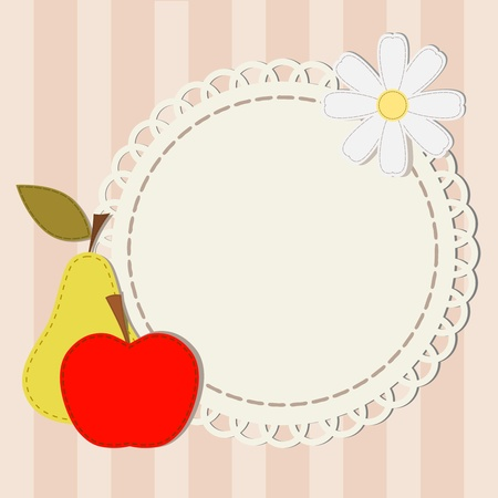 Vector illustration and silhouettes lace apple, pear and chamomile Vector