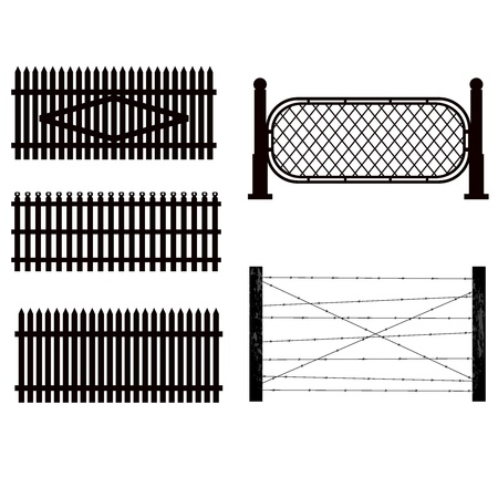 barbed wire fence: Set of silhouettes of fences.  vector