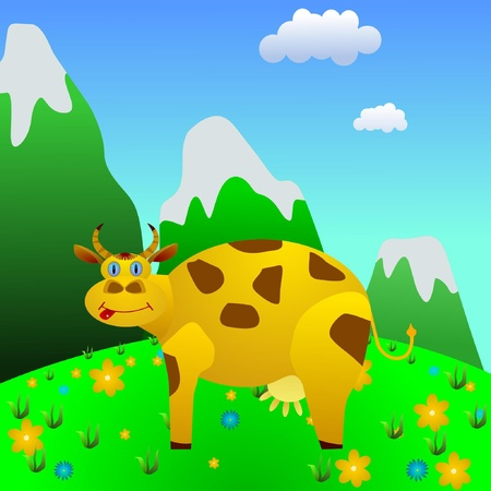 spilt: Cow on a mountain meadow. vector