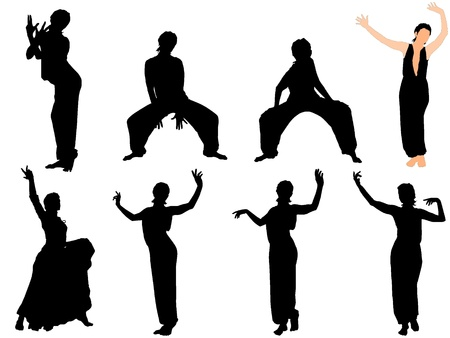 Collection of vector illustrations of dancers