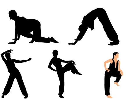 exaltation: Set of vector pictures gymnasts