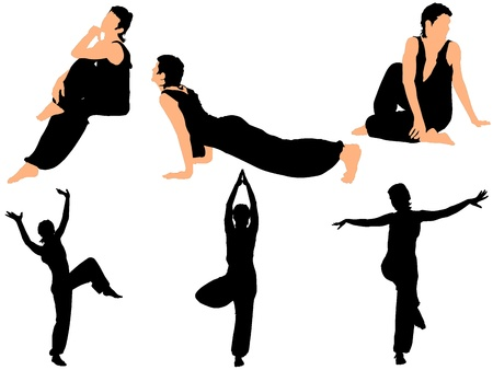 exaltation: Collection of vector illustrations gymnasts