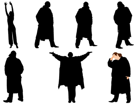 A collection of silhouettes of men in trench coat. Vector Vector