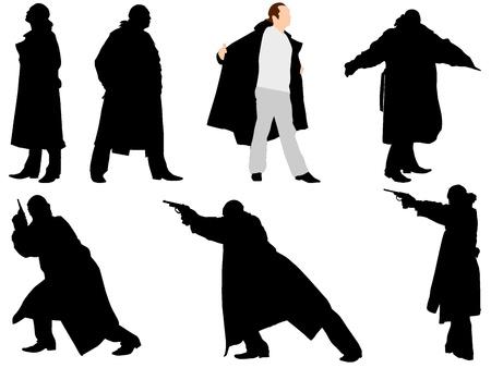gangster with gun: Una colecci�n de siluetas de gangsters. Vector