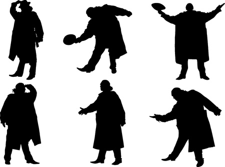 A collection of silhouettes of men in a cloak with a hat. Vector Vector