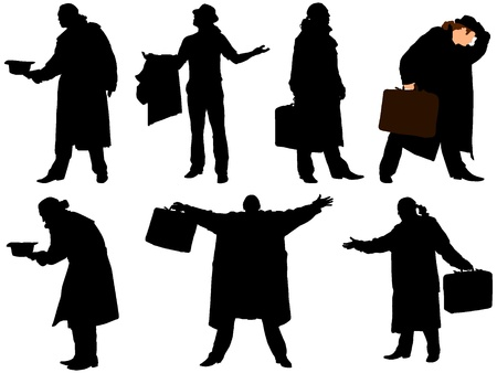 A collection of silhouettes of men in a cloak with a suitcase. Vector