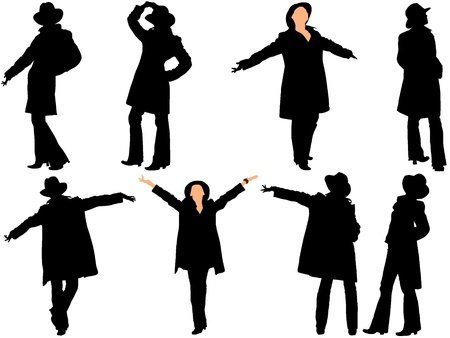 A collection of silhouettes of women in the hat. Vector Vector