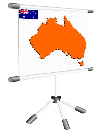 ferrous metals: Vector display with a silhouette map of Australia Illustration