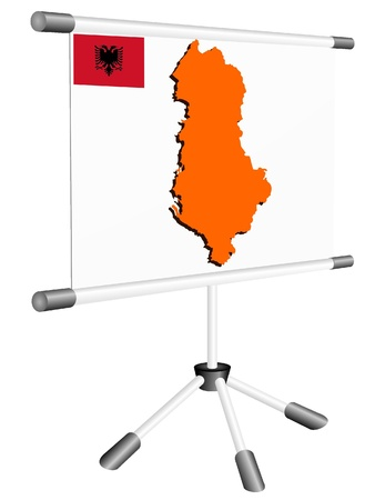 ferrous metals: Vector display with a silhouette map of Albania Illustration