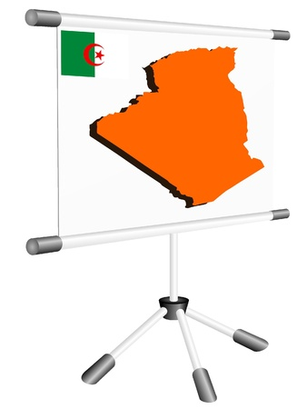 ferrous metals: Vector display with a silhouette map of Algeria