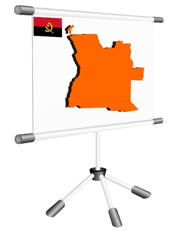 ferrous metals: Vector display with a silhouette map of Angola Illustration