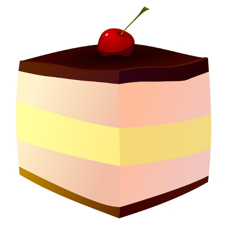 Cake with cherries. vector Vector