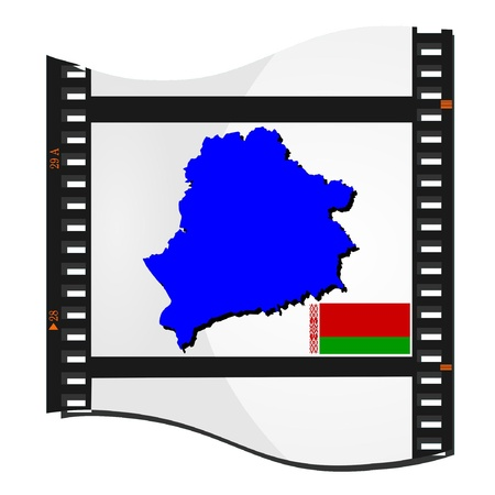 Film shots with a national map of Belarus Vector