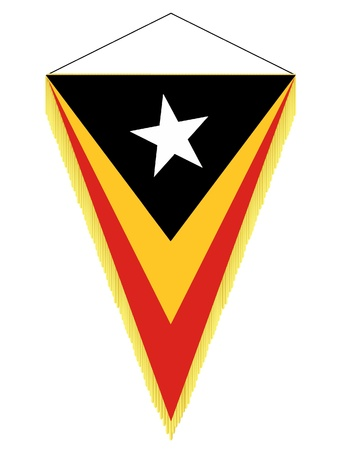 banderol: Vector image of a pennant with the national flag of East Timor Illustration