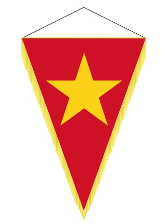 Vector image of a pennant with the national flag of Vietnam