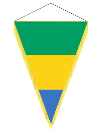 banderol: Vector image of a pennant with the national flag of Gabon Illustration