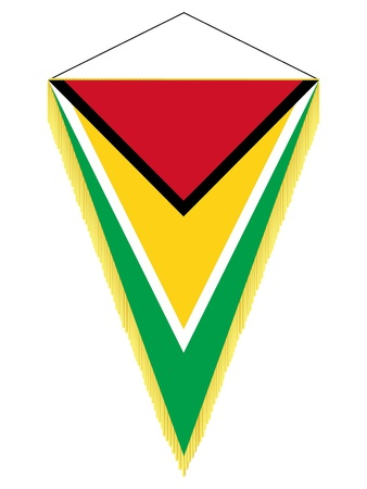 banderol: Vector image of a pennant with the national flag of Guyana Illustration