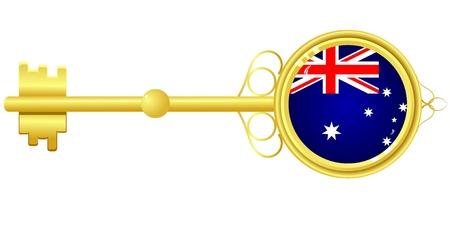 golden key: Golden key for Australia Illustration