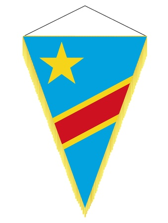 banderol: Vector image of a pennant with the national flag of Democratic Republic of the Congo