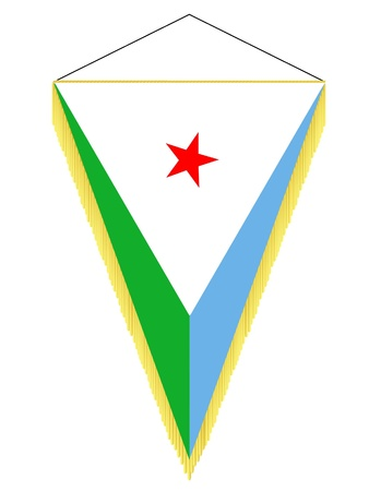 Vector image of a pennant with the national flag of Djibouti