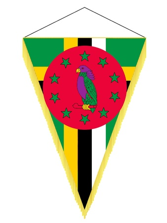 Vector image of a pennant with the national flag of Dominica