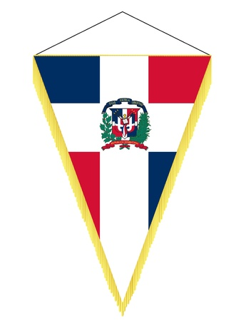 banderol: Vector image of a pennant with the national flag of Dominican Republic Illustration