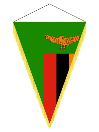 Vector image of a pennant with the national flag of Zambia Illustration