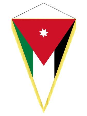 Vector image of a pennant with the national flag of Jordan